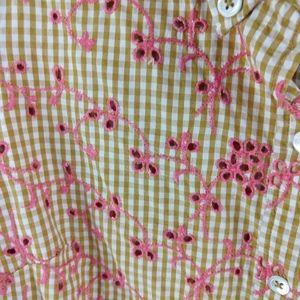 Anthropologie Tops - Anthropologie Odille Shirt Cotton Gingham Eyelet